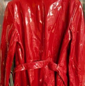 Dana Buchman-Red Patent Leather Trench Coat-SZ 12